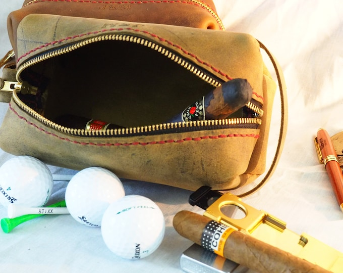 Leather Golf Caddy Bag; Cigar Case; Small Dopp Kit; Great Father's Day Gift! Golfer Dad would love it! Personalization Available