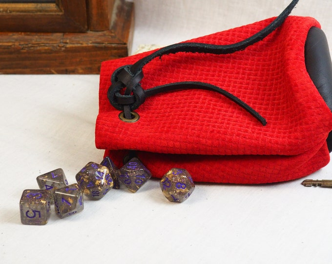 RenFaire LARP Costume Accessory; Red & Black Drawstring Pouch; Handmade Custom Leather Pouch; Leather Dice Bag; Personalized Leather Satchel