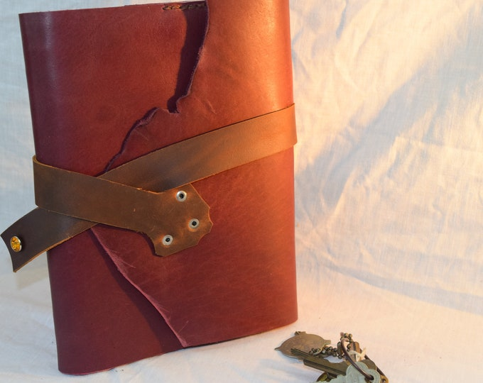 Plum and Brown Leather Journal; Refillable Notebook Cover; Pen Holder and Strap Closure; Travel Journal; Personalization Available