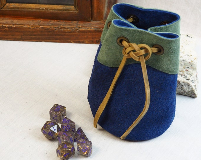 Blue and Green Handmade Drawstring Pouch; Custom Leather Dice Bag; Personalized Leather Satchel; RenFaire LARP Costume Accessory; Minis Bag