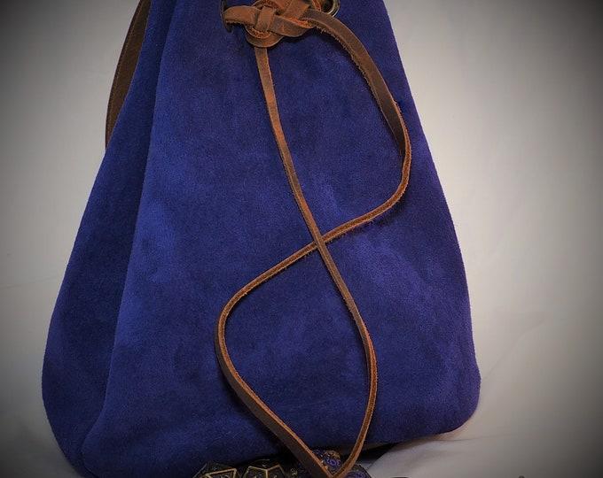Large Blue Suede Leather Pouch Belt Bag; Medieval Satchel Style Hip Bag; Drawstring Handbag; Large Coin Purse; Personalization Avail