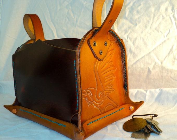 Custom Leather Desk Organizer; Workbench Caddy; Tool Storage; Desktop Organizer; Art Supply Case; Crafts Storage; Personalization Available