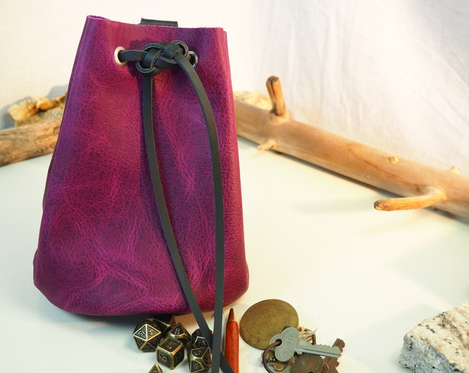 Large Leather Pouch Belt Bag; Purple and Black Medieval Satchel Style Hip Bag; Drawstring Handbag; Large Coin Purse; Personalization Avail