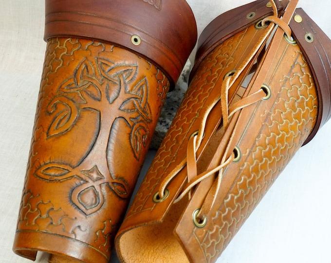 Leather Bracers; Custom Fit and Personalized; Arm Guards; Vambraces; Custom LARP Armor; RenFaire Costume Armor