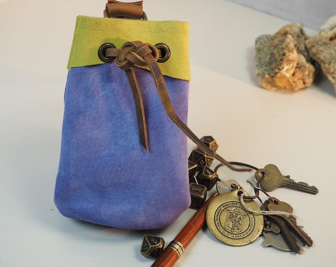 Sky Blue Medium Leather Pouch Belt Bag; Medieval Satchel Style Hip Bag; Baby Blue Drawstring Handbag; Large Coin Purse; Personalization Too