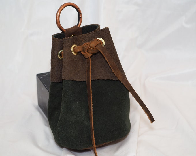 Green and Brown Suede Leather Drawstring Pouch; Medieval RenFaire Coin Satchel; D&D Dice Bag; Medium; Personalization Available