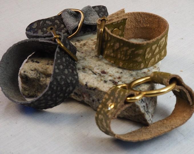 Leather Scarf Cuffs, Leather Shawl Wrap, Textured Cowl Cuff, Genuine Leather Bracelet, Custom Wristband, Personalized Leather Cuff