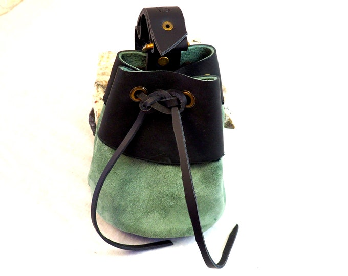 Suede Leather Drawstring Pouch; Medieval RenFair LARP Coin Satchel; Dice Bag; Many Colors Available; Med Size; Personalization Available