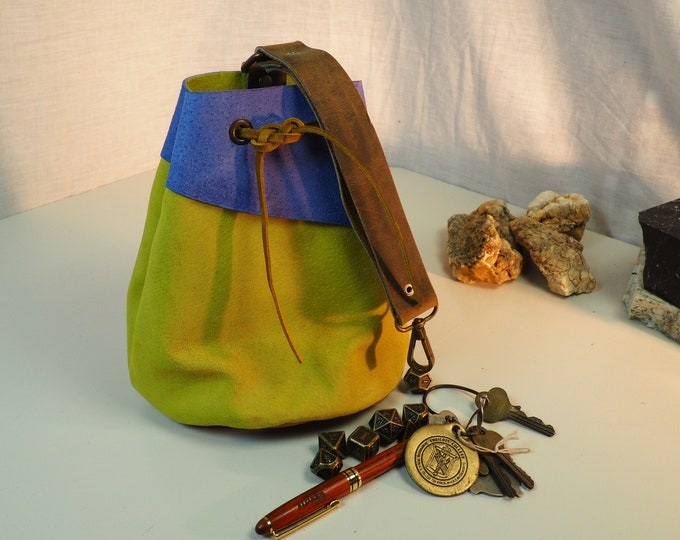 Sky Blue and Yellow Large Leather Pouch Belt Bag; Medieval Satchel Style Hip Bag; Yellow Baby Blue Drawstring Handbag; Large Coin Purse