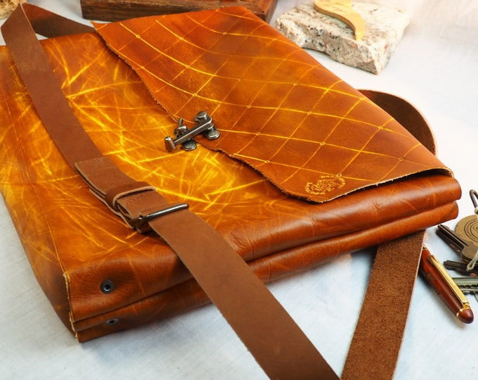 Simple Leather Messenger Bag; Brown and Yellow Messenger Satchel; Crossbody Laptop iPad Case