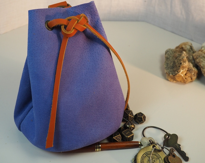 Sky Blue Large Leather Pouch Belt Bag; Medieval Satchel Style Hip Bag; Baby Blue Drawstring Handbag; Large Coin Purse; Personalization Avail
