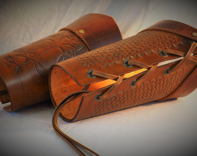 Leather Arm Guards; Custom Fit and Personalized Bracers; Leather Vambraces; LARP Armor; RenFaire Costume