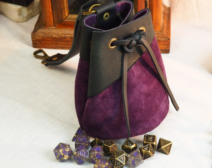 Custom Leather Drawstring Dice Pouch; Medieval Renaissance Coin Satchel; Dice Bag; Purple Leather Sack; Medium Size; Personalization Avail