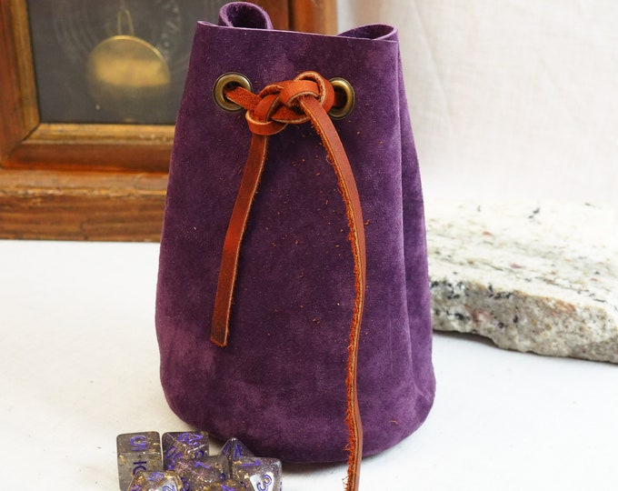 Custom Leather Dice Pouch; RenFaire LARP Costume Accessory; Purple an Red Drawstring Pouch; Leather Dice Bag; Personalized Leather Satchel