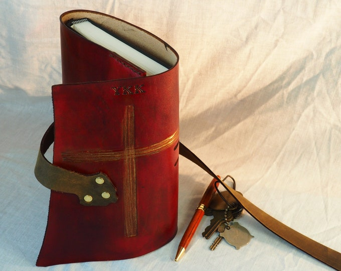 Red Leather Journal with Cross; Refillable Notebook Cover; Pen Holder and Snake Pattern Strap Closure; Travel Journal; Personalization Avail