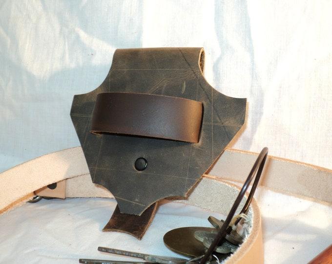 Leather Dragon's Head of Holding Belt Loop; Tool Belt; Sword / Axe Belt Hanger w/ Dagger Frog; LARP Sword Belt Hanger, Renfaire Weapon Belt