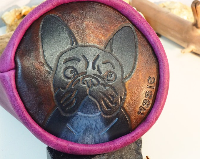 Custom Purple Leather Drawstring Pouch With Pet Portrait Bottom; Medieval Renaissance Day Bag; Dice Bag; Many Colors Avail.; Large Size