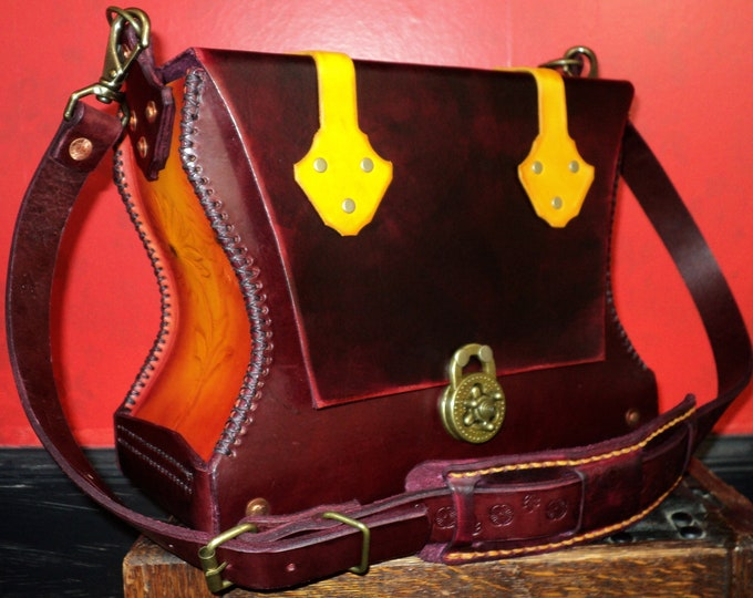 Red and Yellow Leather Flower Pattern Handbag; Medieval Style Leather Shoulder or Crossbody Bag; Daisy Flower Pocketbook; Cell Phone Pocket