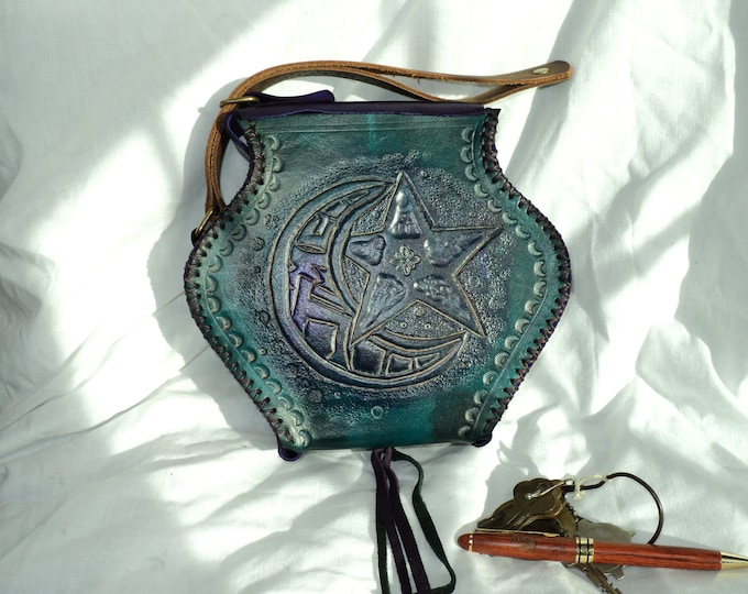 Leather Potion Bottle Belt Pouch; Handmade Aqua Purple Medieval Hip Bag; Renaissance Coin Satchel; LARP Waist Purse; Belt Bag; Backpack