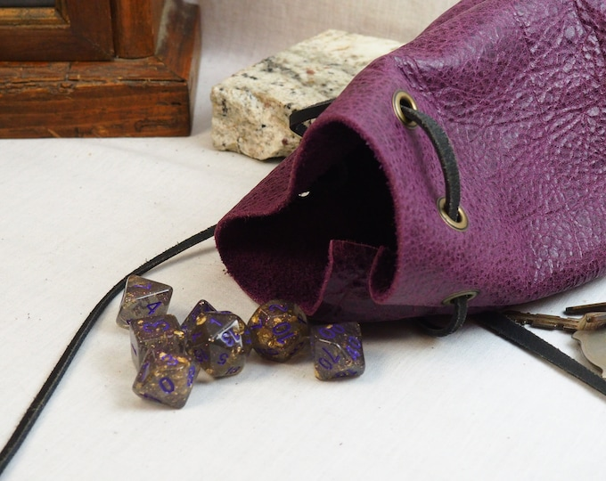 Purple and Black Drawstring Pouch; Handmade Custom Leather Dice Bag; Personalized Leather Satchel; RenFaire LARP Costume Accessory