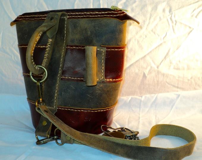 Custom Leather Round Bottom Striped Purse; Bucket Bag; Medieval Satchel; Saddlebag; Personalization Available; Shoulder Bag; Cross Body Bag