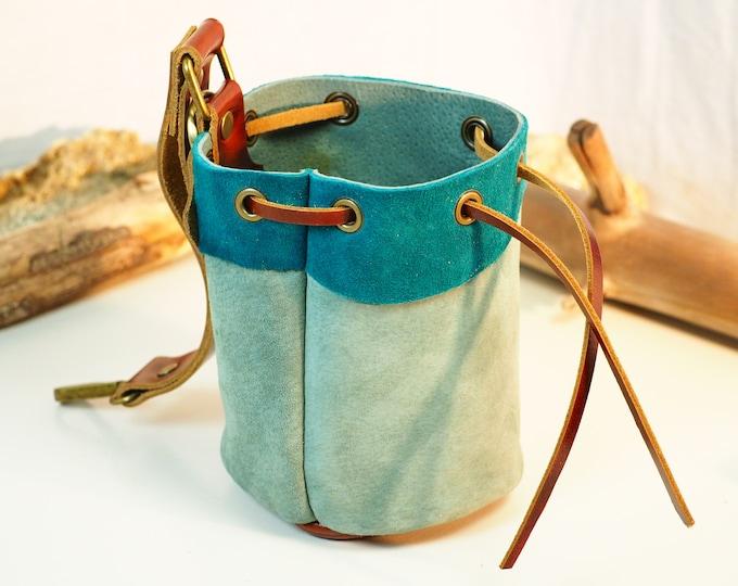 Teal and Green Medium Leather Pouch Belt Bag; Medieval Satchel Style Hip Bag; Green Drawstring Handbag; Light Blue Coin Purse