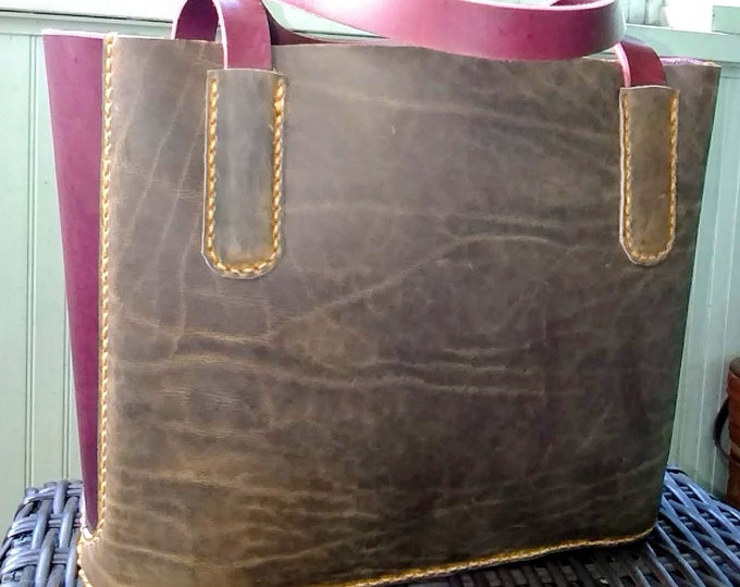 Leather Tote Bag (2 Sizes); Personalization Available; Handmade Day Bag; Shopping Bag