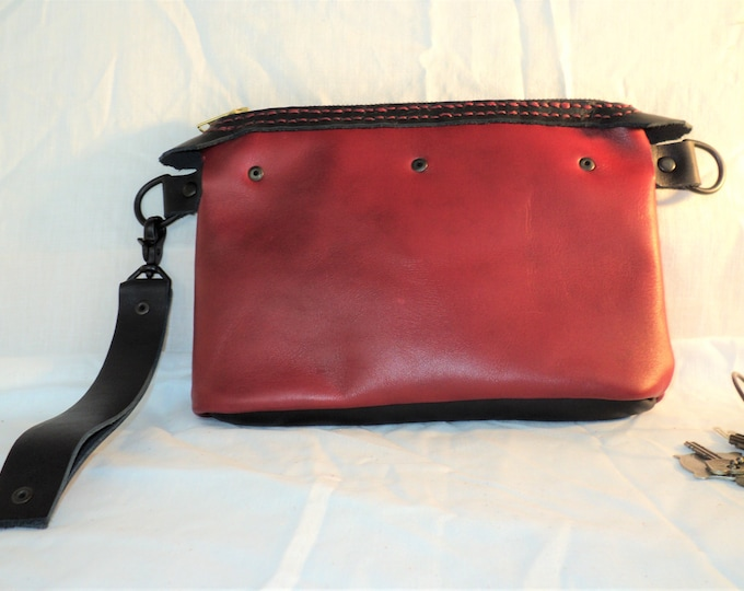 Handmade Red and Black Leather Minimalist Clutch; Phone Pocket Purse; Converts to Crossbody or Shoulder Bag w/ Longer Strap
