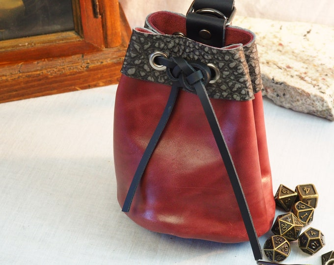 Custom Leather Drawstring Dice Pouch; Medieval Renaissance Coin Satchel; Dice Bag; Many Colors Available; Medium Size; Personalization Avail