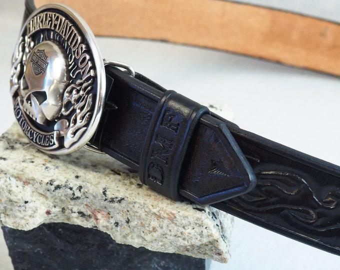 Leather Belt; Hand Tooled; Harley-Davidson Belt; Custom Celtic Knot Belt; Black Leather Belt; Many Sizes & Colors; Personalization Avail