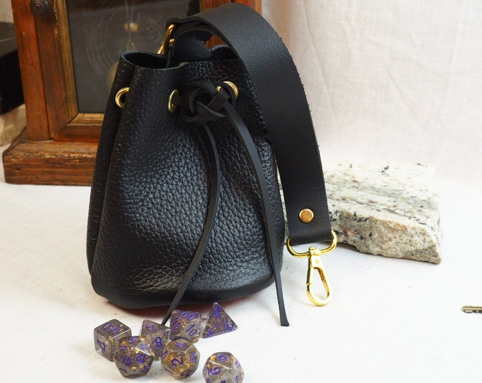 Black and Orange Leather Dice Bag; Handmade Custom Leather Drawstring Pouch; Personalized Leather Satchel; RenFaire LARP Costume Accessory
