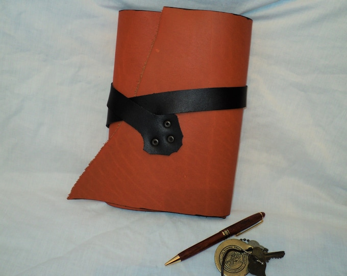 Orange and Black Genuine Horween Leather Journal; Refillable Notebook Cover; Style 1; Travel Journal; Sketch Book;Personalization Available
