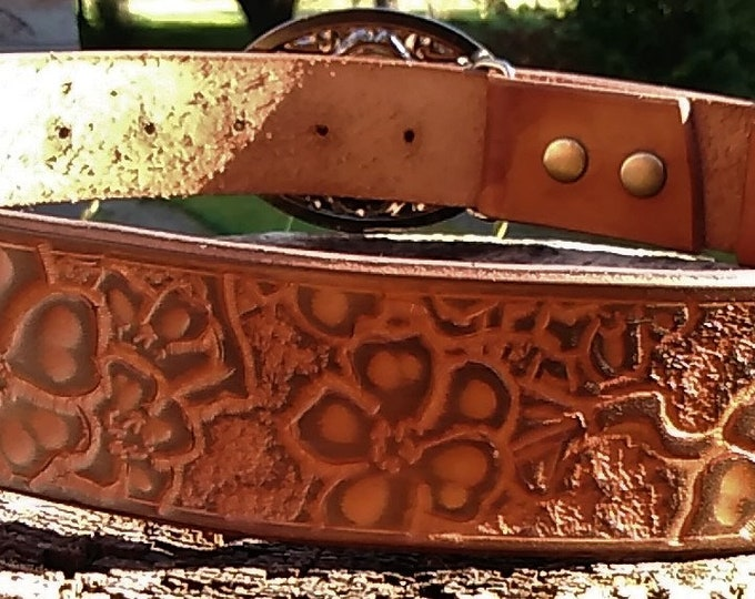 Hand Tooled Leather Belt with Cherry Blossom Pattern; Personalization Available