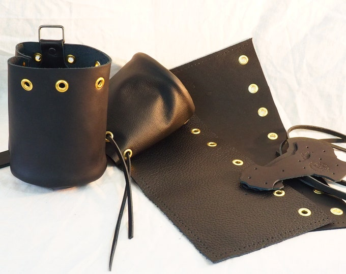 Black Leather Drawstring Pouch; Medieval Renaissance Coin Satchel; Dice Bag; Many Colors Available; Med. Size;Personalization Available