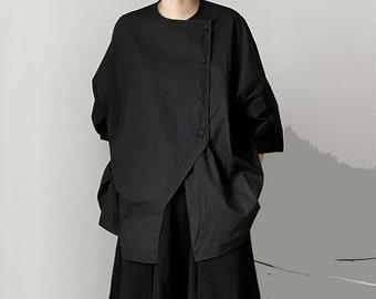Oversized Black Shirt Loose fit Uniform Lapel Bubble Sleeves Back Slits Loose Shirt Oversize Blouse Loose Fit Shirt