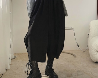 Wide leg pants women / Harem Culottes /  Culottes / Japanese clothing/Wide leg pants women / Harem pants men/ high waist pants Neza Studio