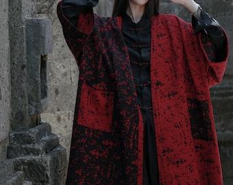 Black Red Over Sized Chinese Hanfu Modified Jacket Kimono Style Chinese Traditional Jacket Kimono LinenCape Coat Unisex Overcoat Neza Studio