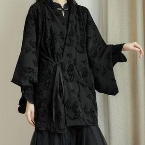 Urbanic Bohemian Woman/'s Top Black Kimono Top Boho Kimono Woman/'s Kimono Cardigan Long Bell Sleeves Top Japanese Kimono Wrap Tunic Top