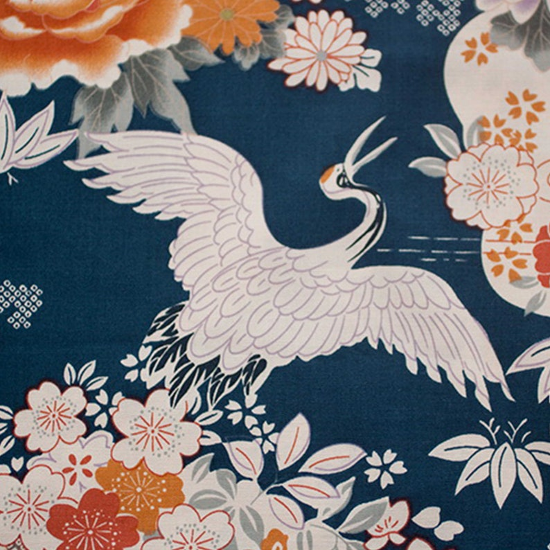 Japanese Prints Cotton Fabric Kimono Fabric Ukiyoe Prints Etsy
