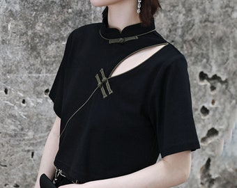 Qipao Modified Crop Top T shirt with Shoulder Slit Cotton Jersey Crop top Chinese toggle details long sleeves tank top slit shoulder top