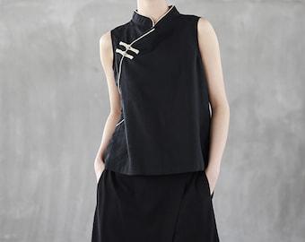 Qipao Modified sleevesless Top T shirt with Chinese toggle Hanfu Top black Qipao Shirt Hanfu cami top Chinese crop Top Mandarin Collar