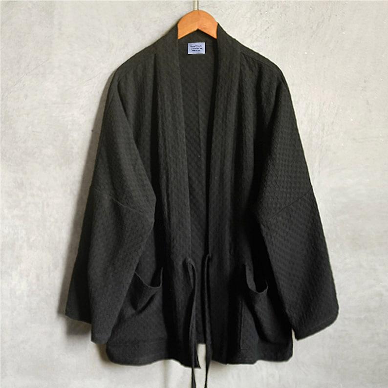 Neza Studio Japanese Noragi Jacket,Kimono Top Unisex Japanese Jacket Navy Black Cotton Kimono Jacquard Kimono Unisex Kimono Dress Kimono