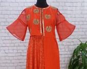 Red Silk Long Dress, Cold Shoulder Dress, Gold Embroidered Dress, Bollywood Kurta, Party Wear, Indian Wedding, Red Long Dress, Jacket Dress