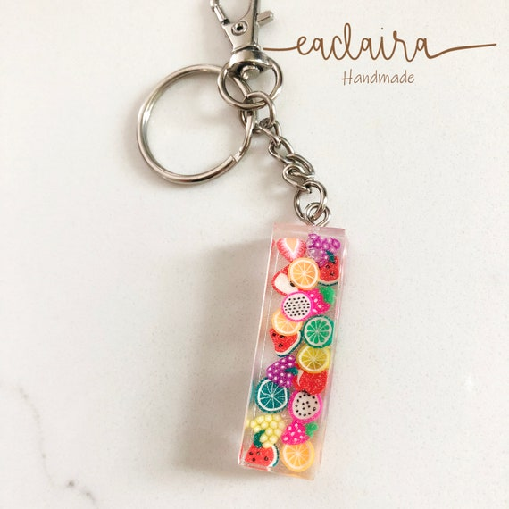 Letter M Fruit Key Ring SAMPLE ready to ship Colourful Mini Fruits Resin Monogram Keychain Handmade Personalized Initial Keychain
