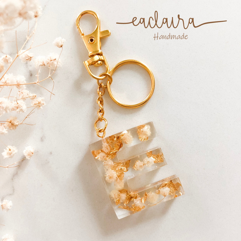 Rose petal key ring Key Chain with free luxury gift-box fern C Letter Custom Name real flower dandelion