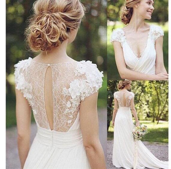 Minimalist Simple Short Sleeve White Floral Lace Wedding Dress Etsy