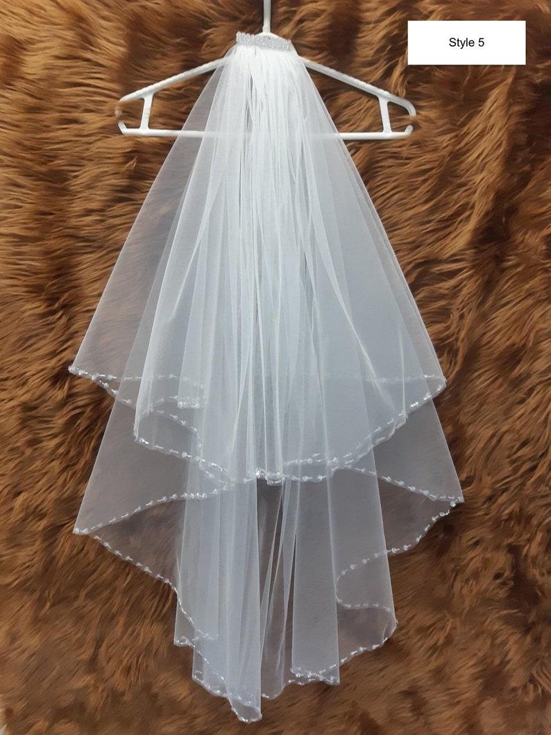 Fashionable medium length white bridal big hole fishnet tulle veil single or double tier various styles