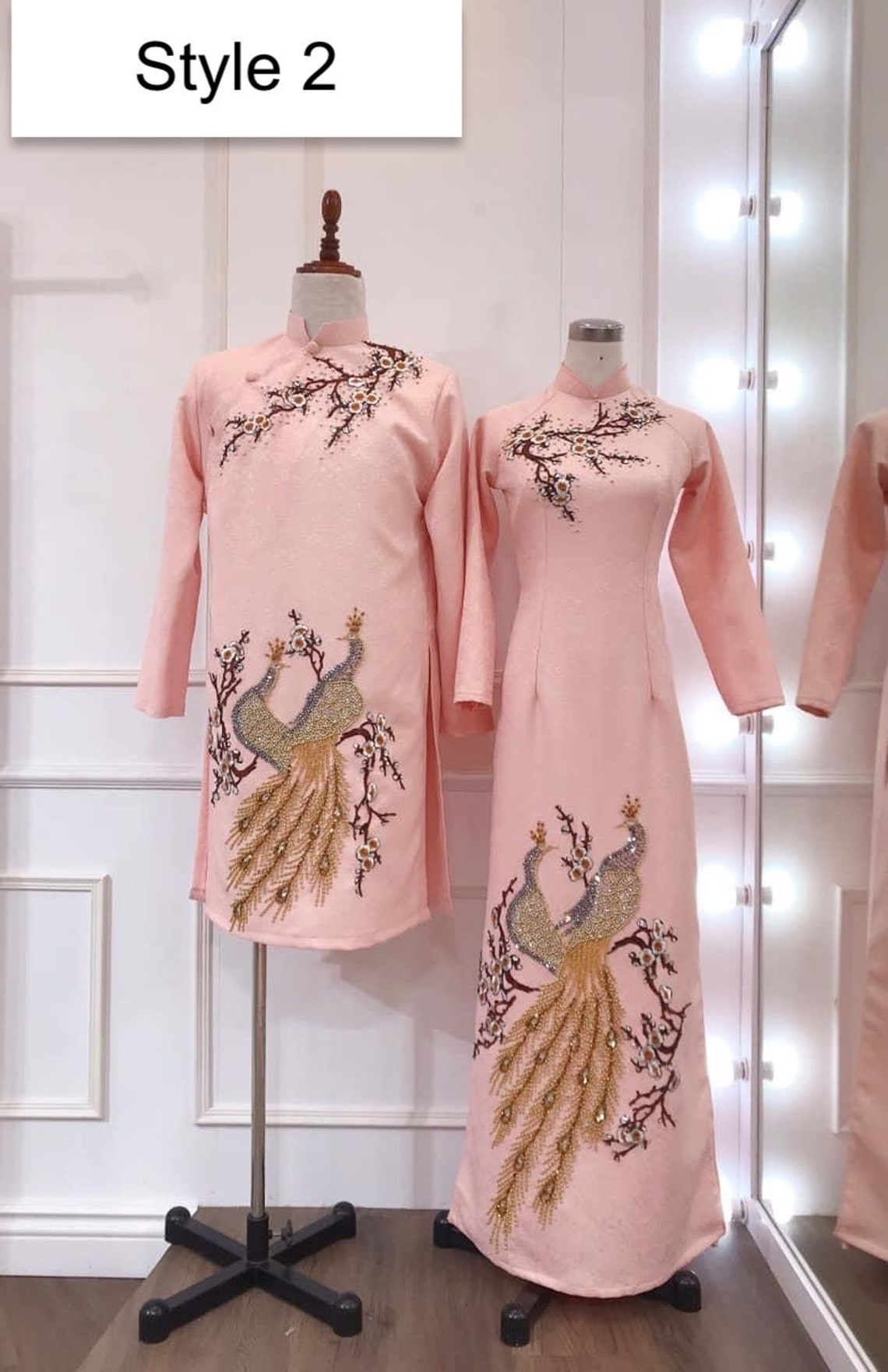 Traditional pink Vietnamese Wedding Ao Dai in jacquard or