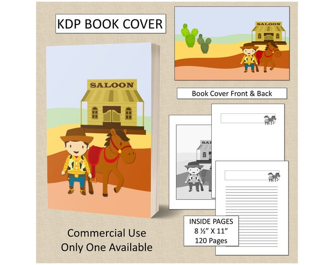 Kids Cowboy Cover KDP Book Cover Kindle Cover Template KDP Cover Premade Book Covers Amazon KDP Book Covers Digital Book Cover