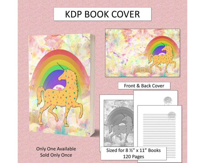 Kids Unicorn Book Cover Kids Book Cover for KDP Journal Cover KDP Notebook Cover for Childrens Fantasy Book Cover Commercial Use
